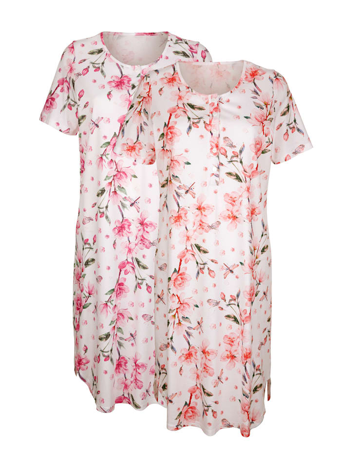 Harmony Nachthemden per 2 stuks met digitale bloemenprint, Ecru/Koraal/Fuchsia