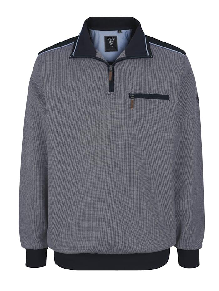 Hajo Sweatshirt mit Webbesätzen in Kontrast, Marineblau