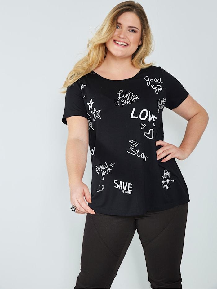 Sara Lindholm Shirt mit Schriftzügen, Schwarz/Weiß