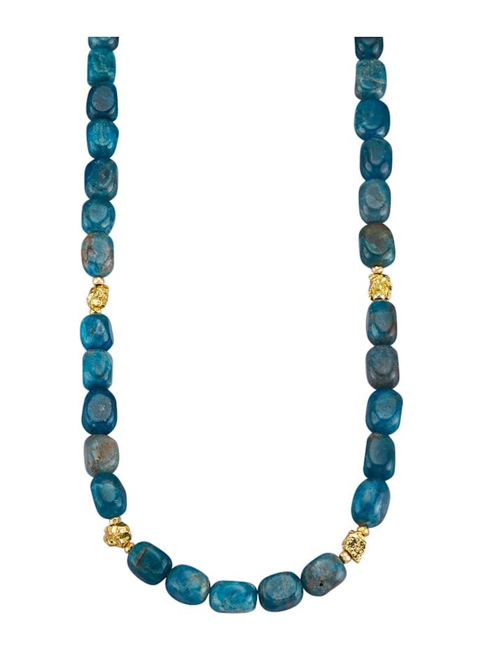 Collier aus Apatit und Pyrit-Nggets, Blau