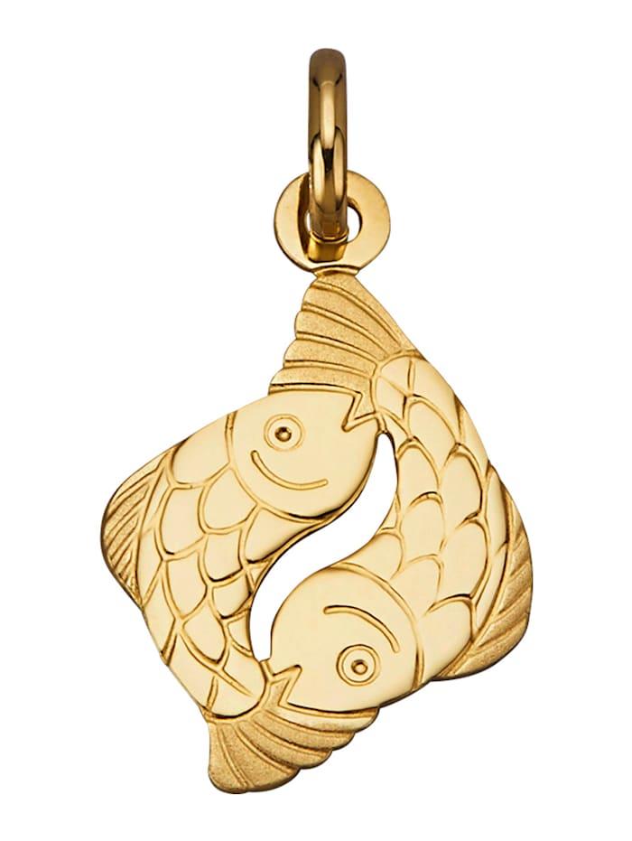 """Amara Or Pendentif avec signe du zodiaque """"Poisson"""" en or jaune 750, Coloris or jaune"""