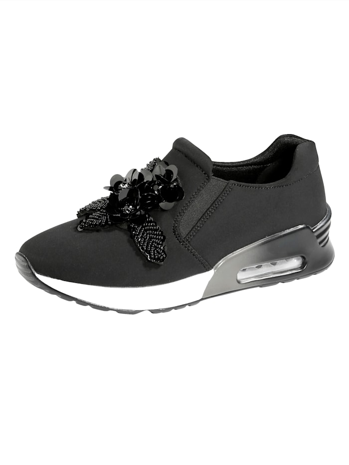 Liva Loop Sneakers en textile extensible, Noir