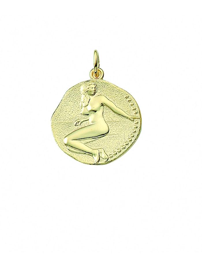 1001 Diamonds Damen & Herren Goldschmuck 333 Gold Sternzeichen Anhänger Jungfrau Ø 18,2 mm, gold