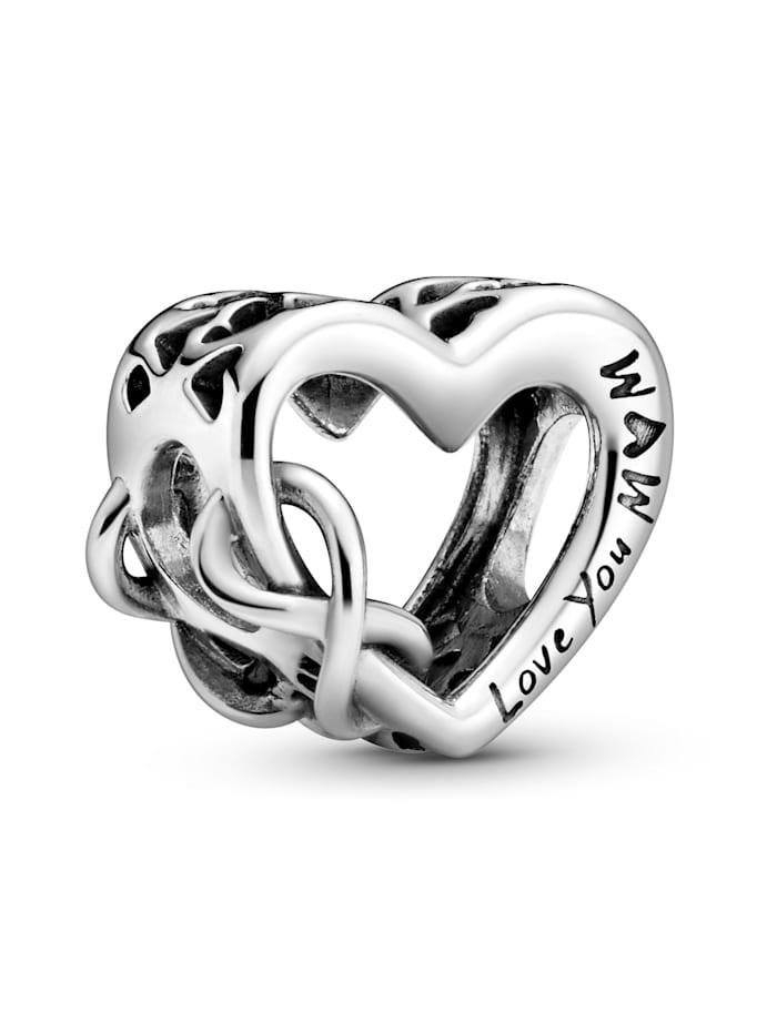 """Pandora Charm - """"Love You Mum"""" Unendlichkeits-Herz - 798825C00, Silberfarben"""