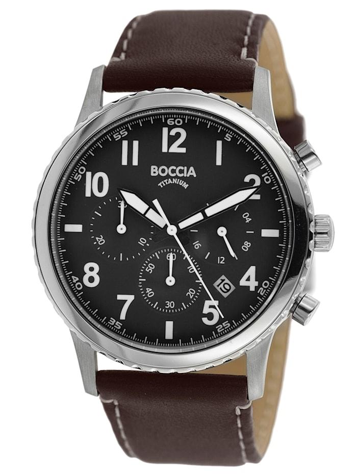 Boccia Herren-Chronograph Titan mit braunem Lederband, Schwarz