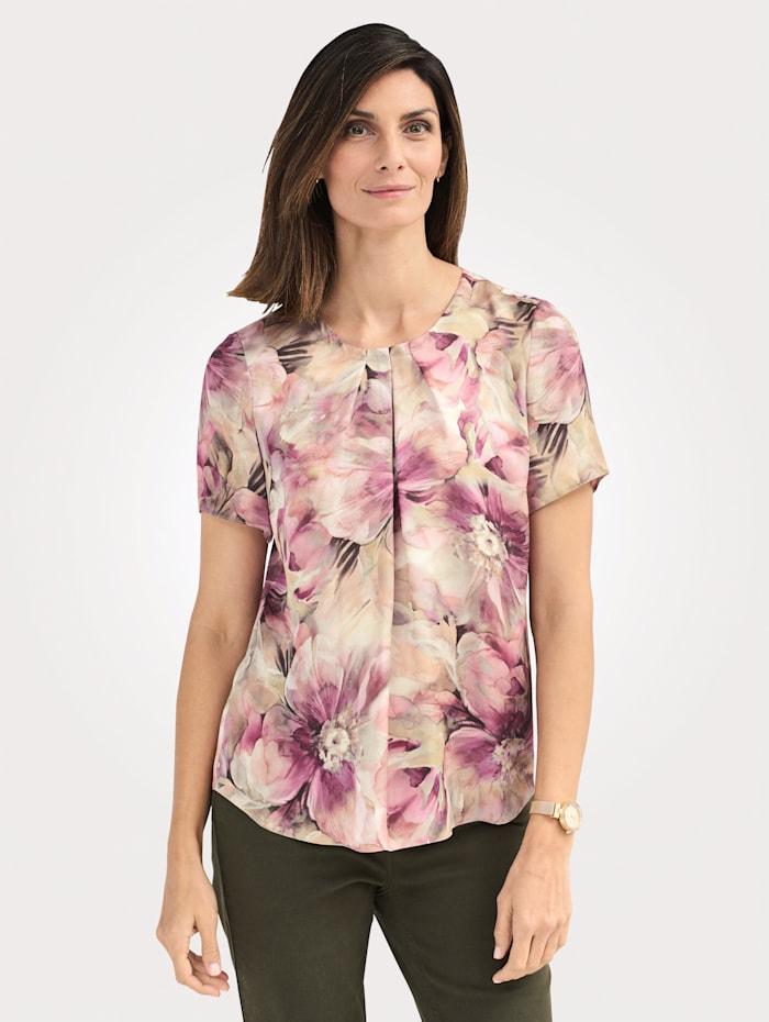 MONA Bluse mit floralem Druck, Oliv/Rosé