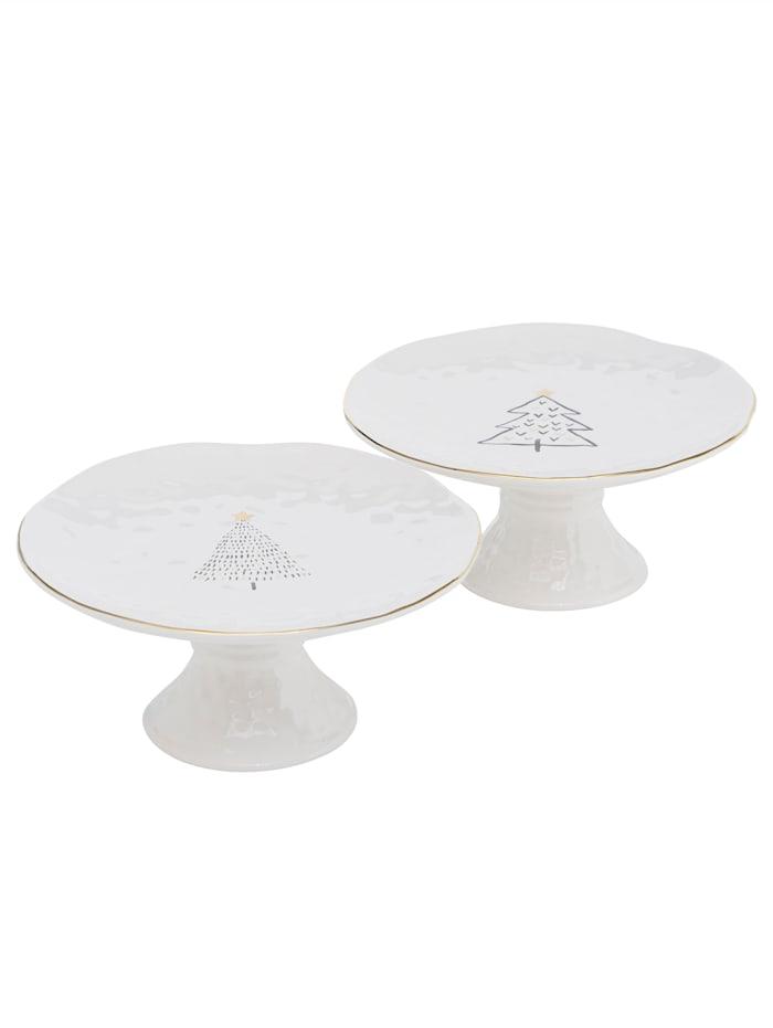 Boltze Tortenplatten-Set, 2-tlg., weiß