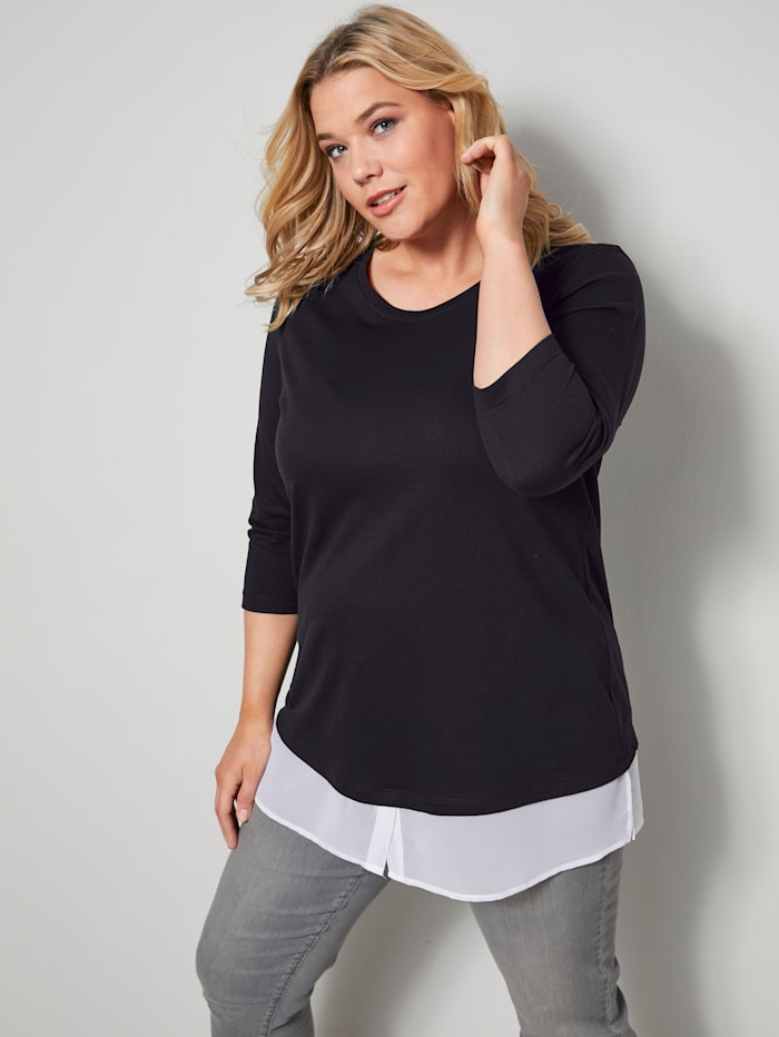 Janet & Joyce Shirt mit 2-in-1 Effekt, Schwarz/Weiß