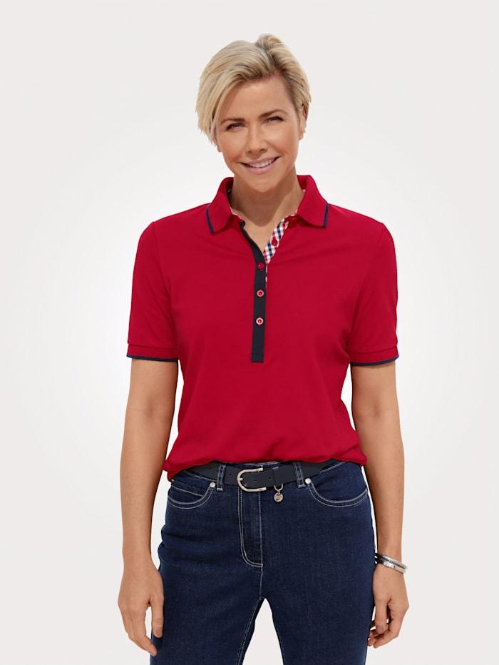MONA Poloshirt mit aufwendigen Details, Rot/Marineblau
