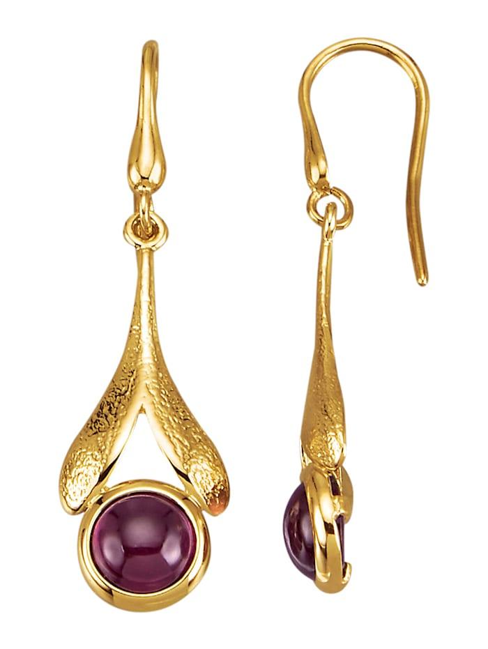 Amara Pierres colorées Boucles d'oreilles en or jaune 585, Lilas
