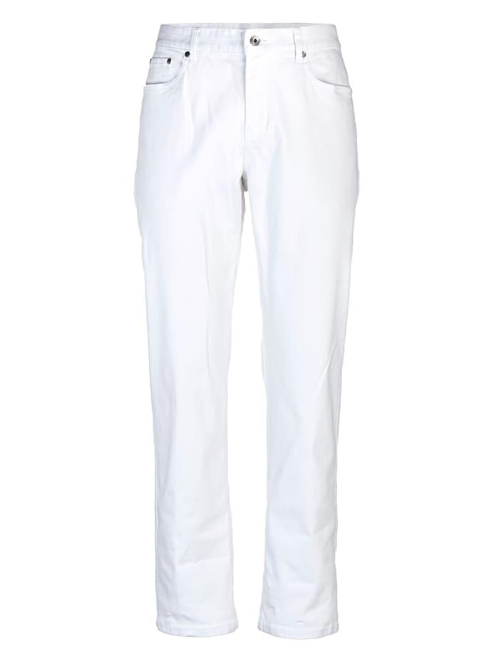 Roger Kent Pantalon 5 poches en matière stretch, Blanc