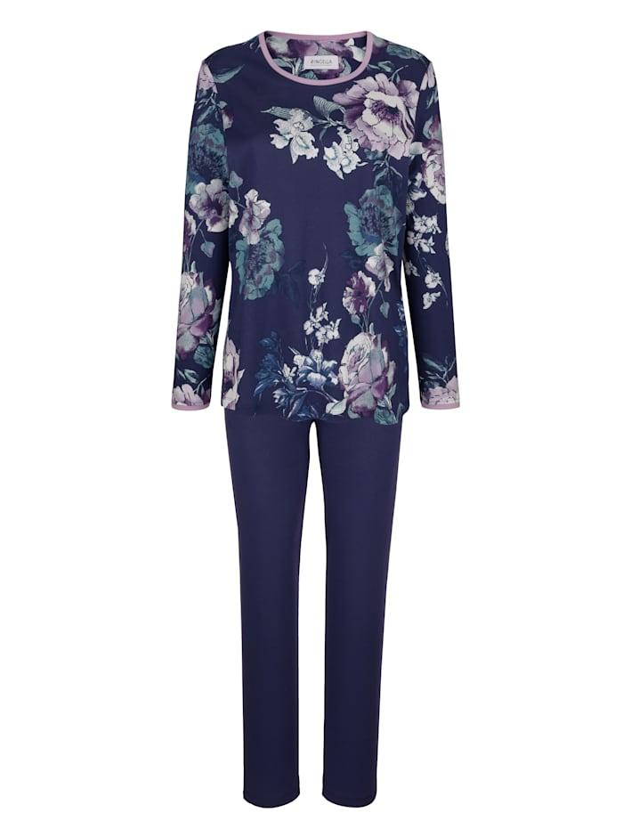 Pyjama met bloemendessin, Nachtblauw/Lila/Jadegroen