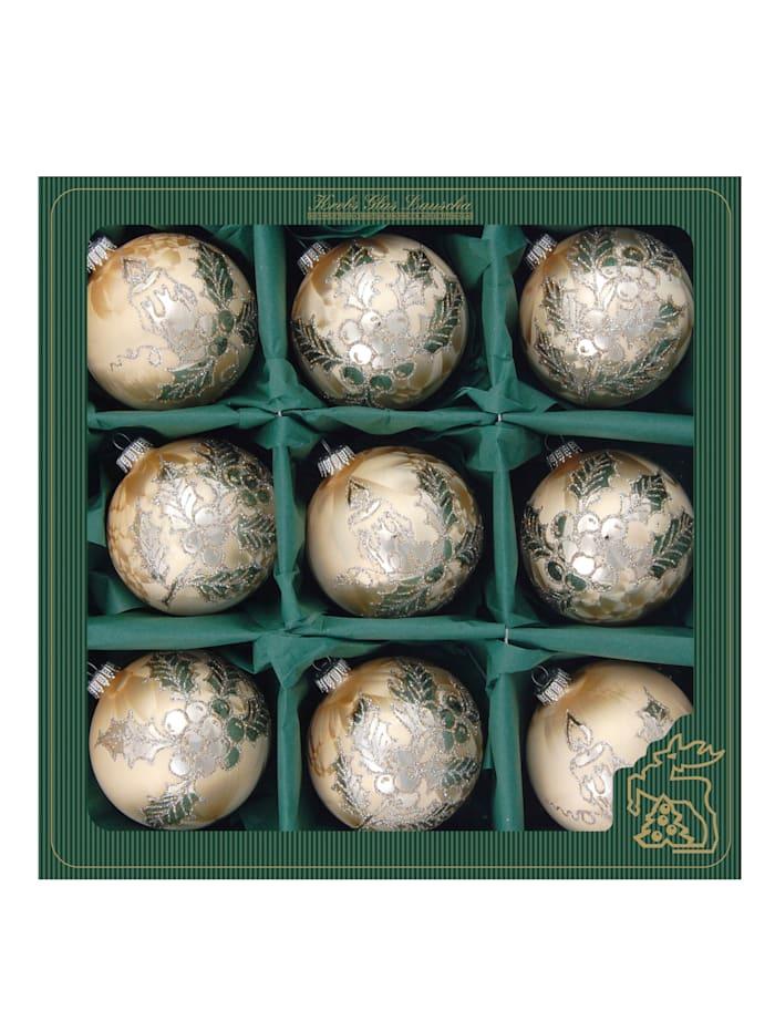 Krebs Glas Lauscha Weihnachtskugel-Set 'Ilex/Adventskerze', Eislack gold