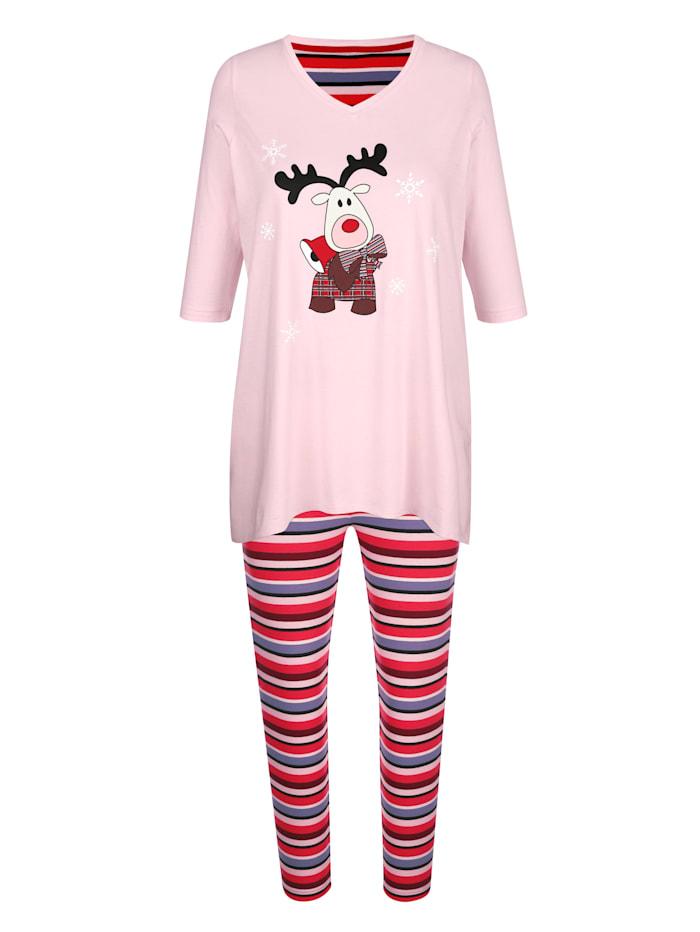 Blue Moon Schlafanzug mit hübschem Zipfelsaum, Rosé/Rot/Schwarz