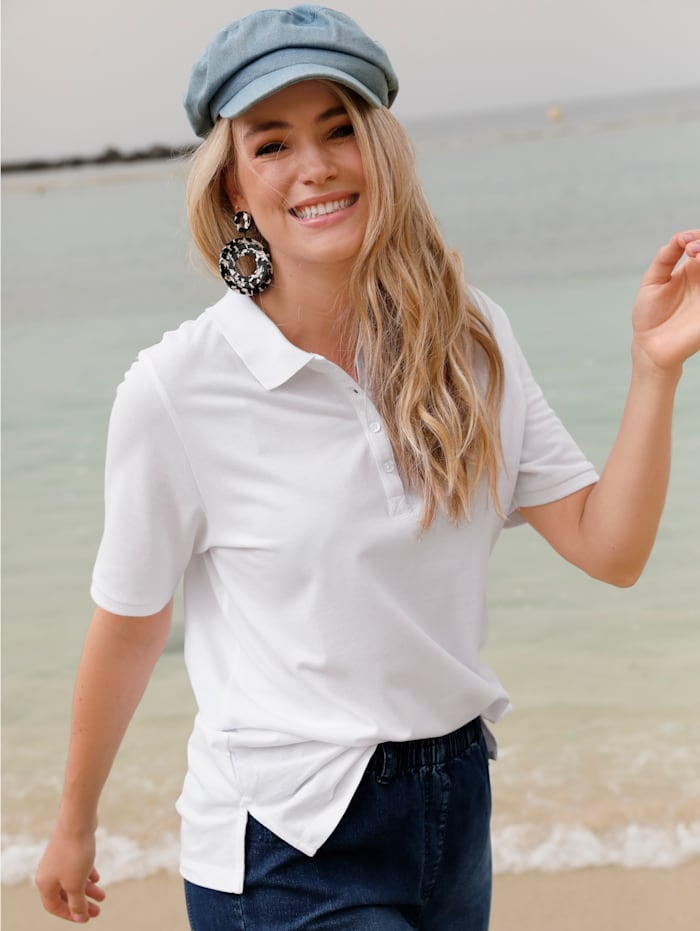 MIAMODA Poloshirt aus leicht strukturiertem Baumwollmaterial, Weiß
