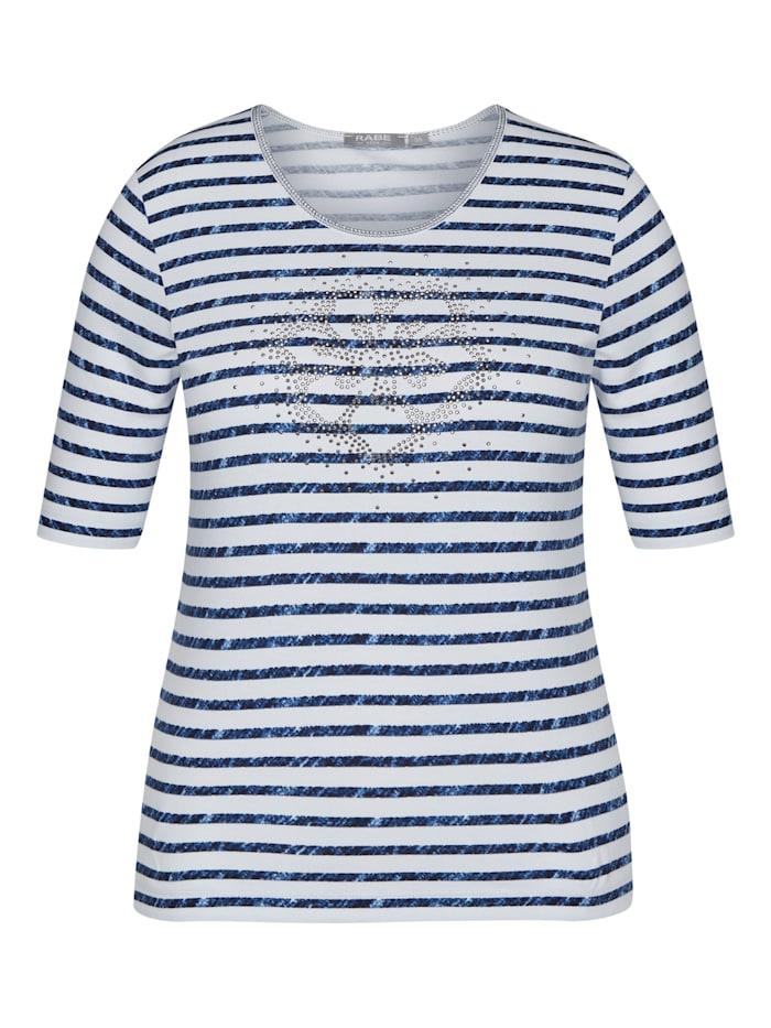 Rabe Shirt mit Streifenmuster und Ziersteinen, MARINE