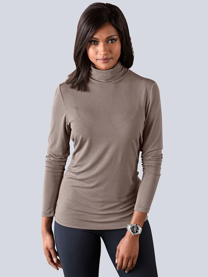 Alba Moda Shirt mit Rollkragen, Taupe
