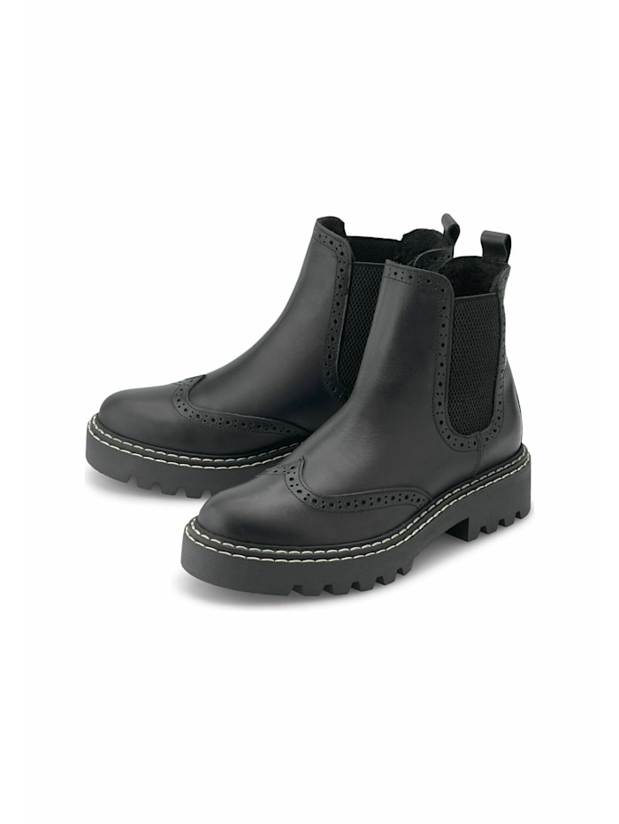 Another A Chelsea-Boots Brogue-Chelsea, schwarz