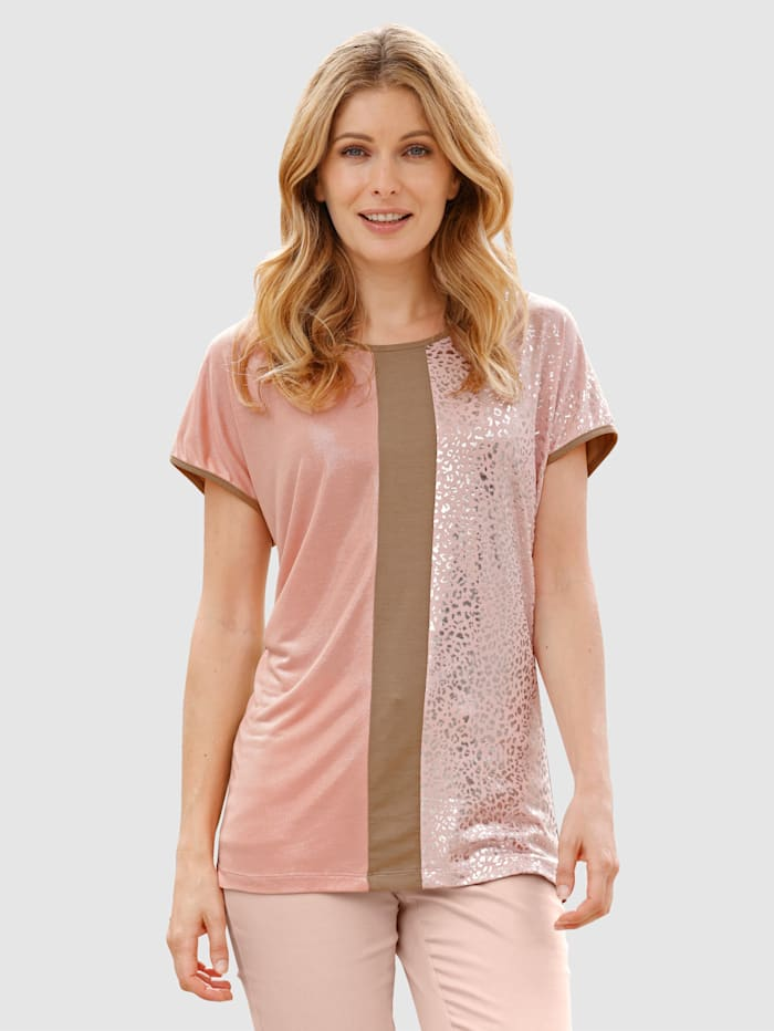 Laura Kent Shirt mit Colorblocking, Apricot/Camel/Rosé