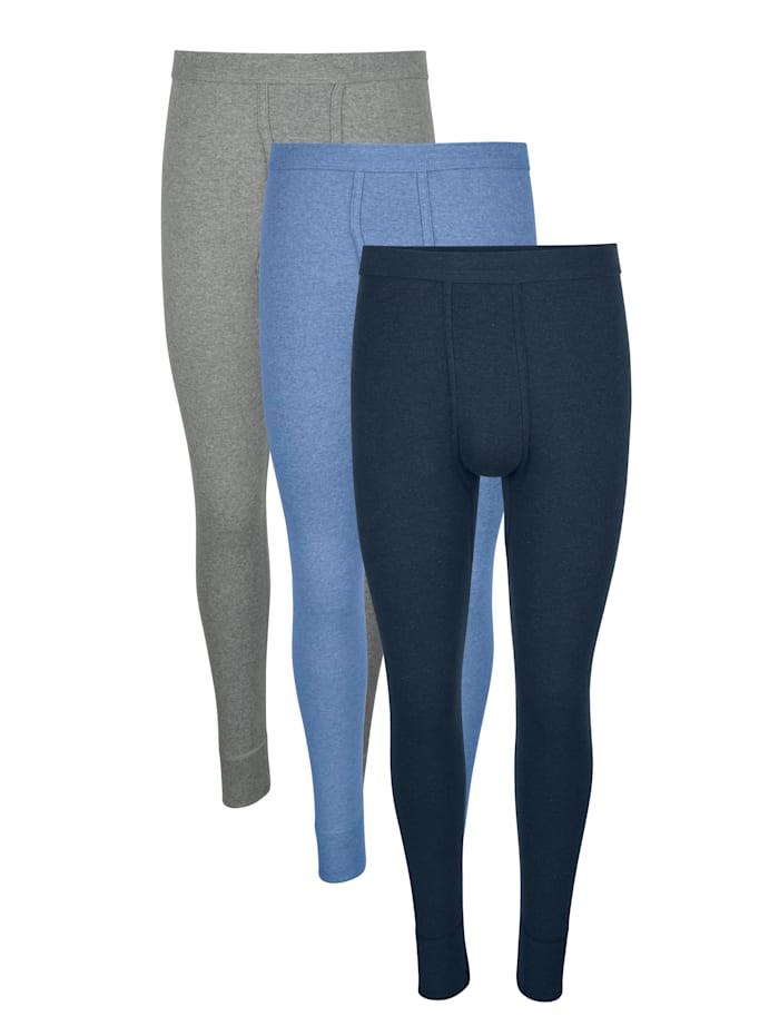 Unterhosen,lang, Marineblau/Hellgrau/Hellblau