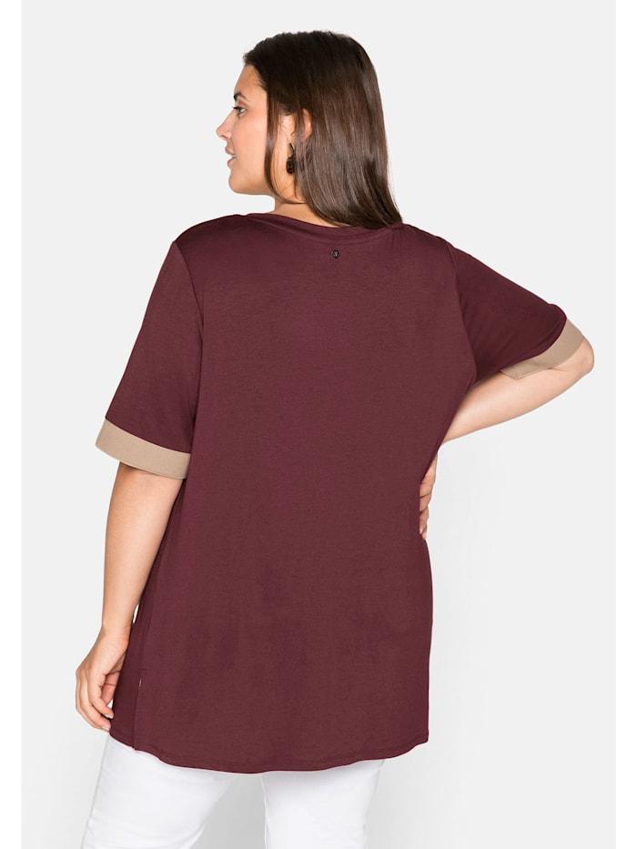 Shirt mit Kontrastbündchen, aus Viskose