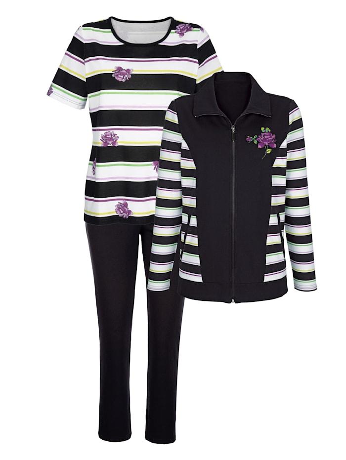 Blue Moon Sportovní oblečení s nadčasovým proužkovým vzorem, Černá/Bílá/Fialová