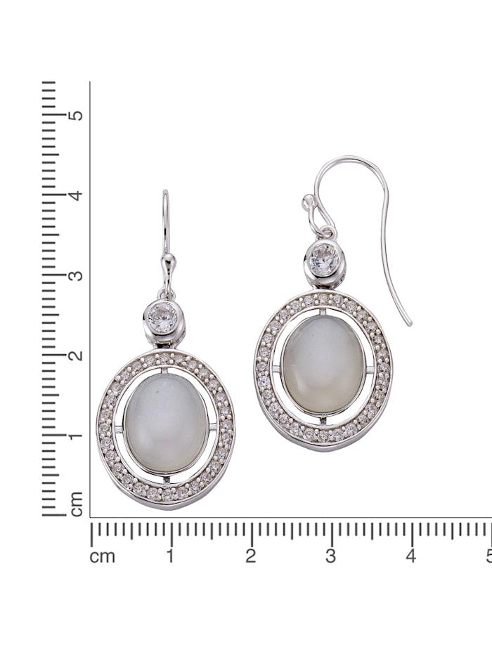 Ohrhänger 925/- Sterling Silber Mondstein weiß 4,7cm Glänzend 925/- Sterling Silber