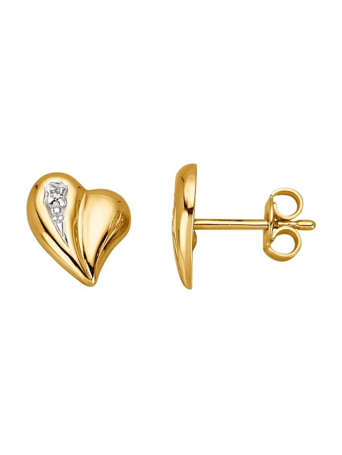 Herz-Ohrstecker mit Diamanten, Gelbgoldfarben