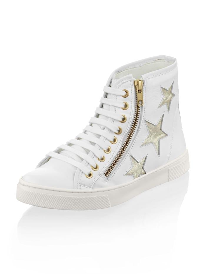 Alba Moda Sneaker mit seitlichen Details, Weiß/Goldfarben