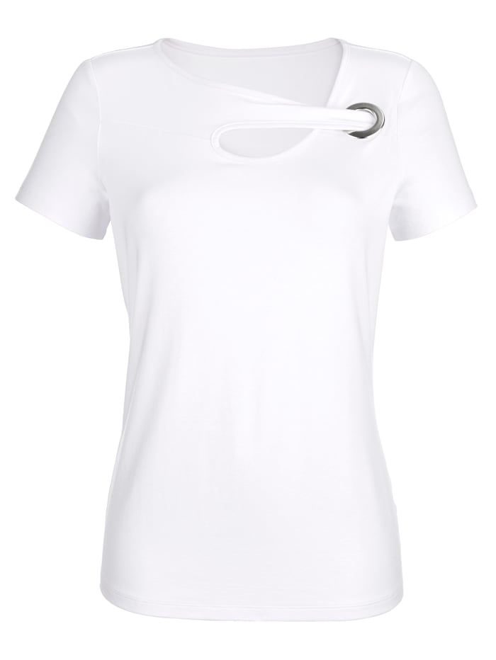 Alba Moda Shirt mit modischem Ausschnitt, Weiß