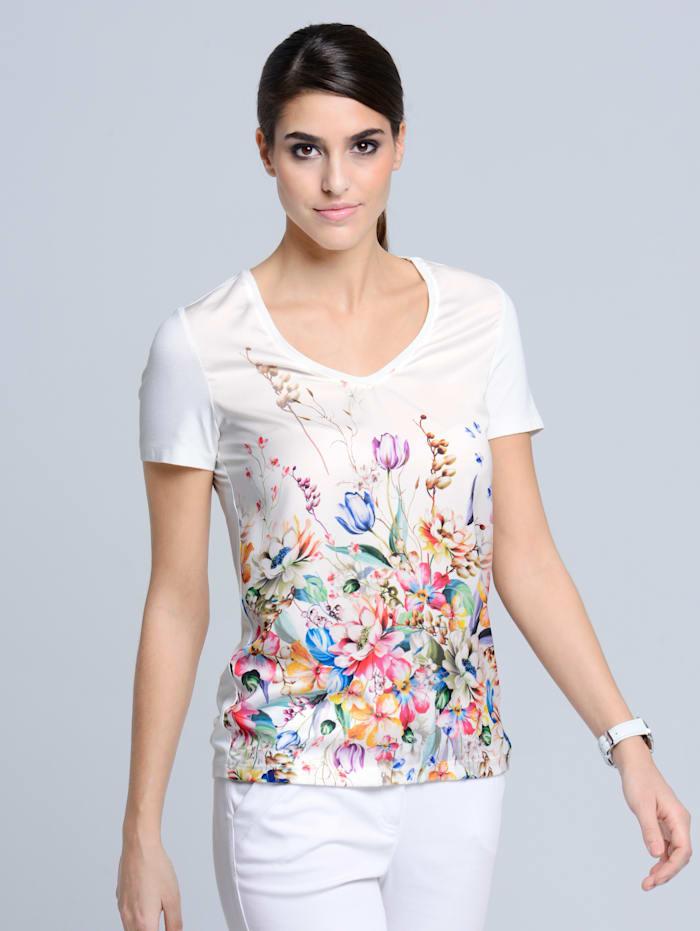 Alba Moda Shirt met bloemenprint voor, Wit/Groen/Pink