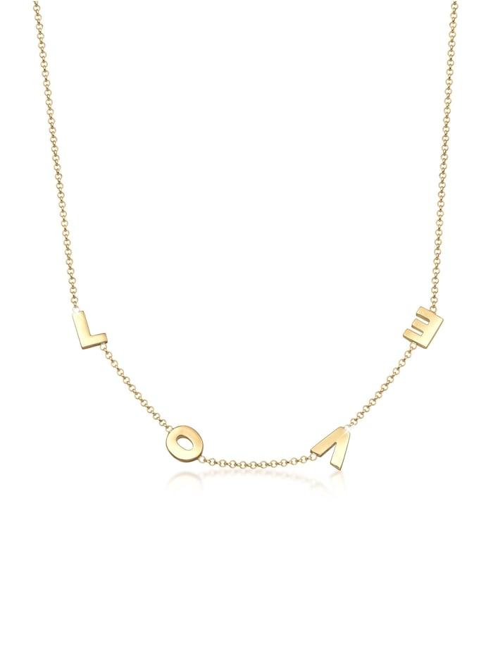 Elli Halskette By @Lleennyyy Erbskette Love Wording 925 Silber, Gold