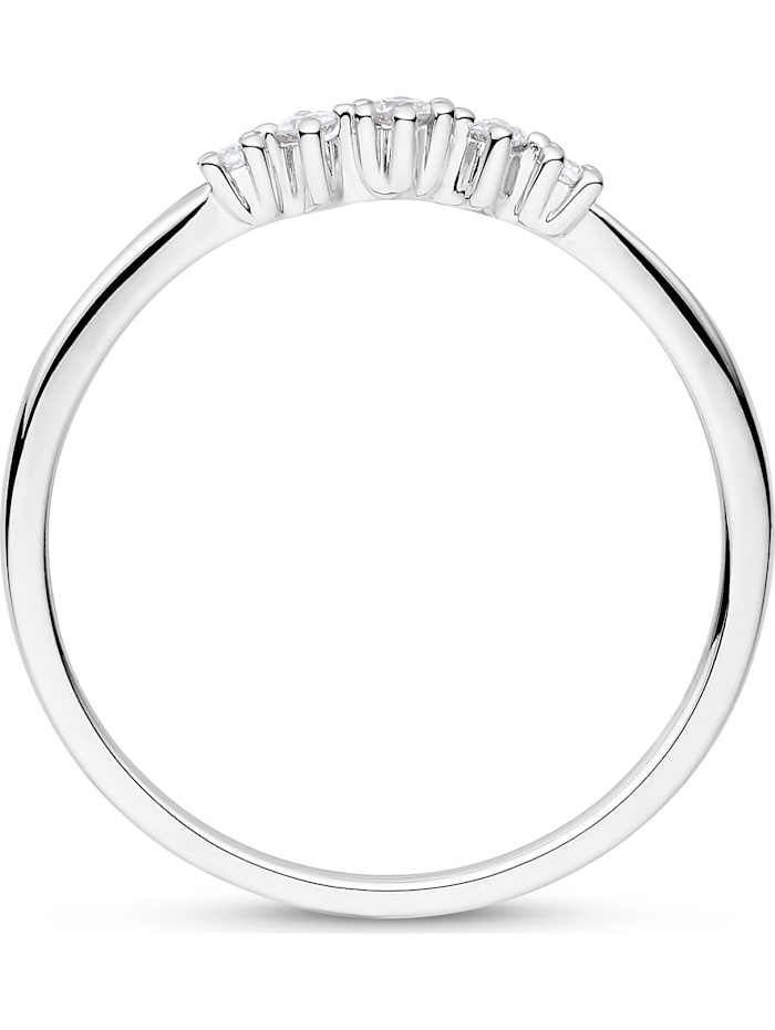 CHRIST Damen-Damenring 585er Weißgold 5 Diamant