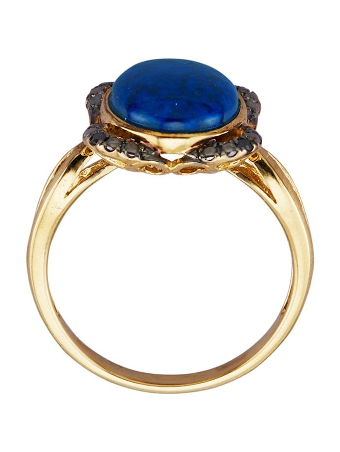 Ring med lapis lazuli och cubic zirconia