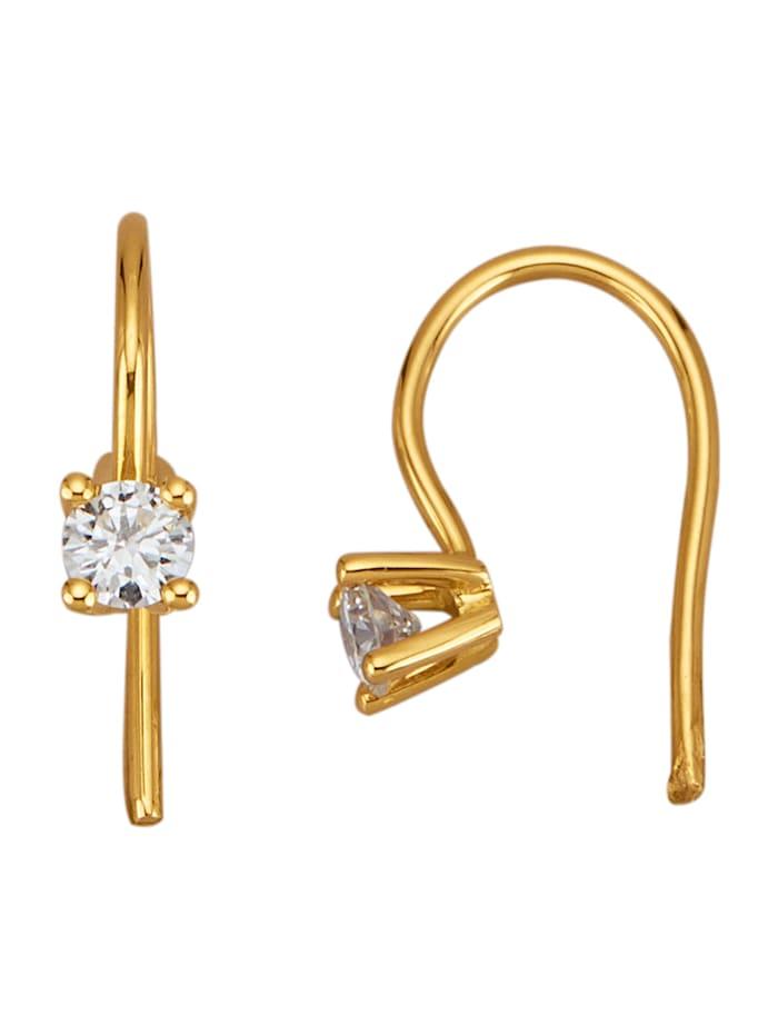 Diemer Solitär Solitär-Ohrringe mit Brillanten, Gelbgoldfarben