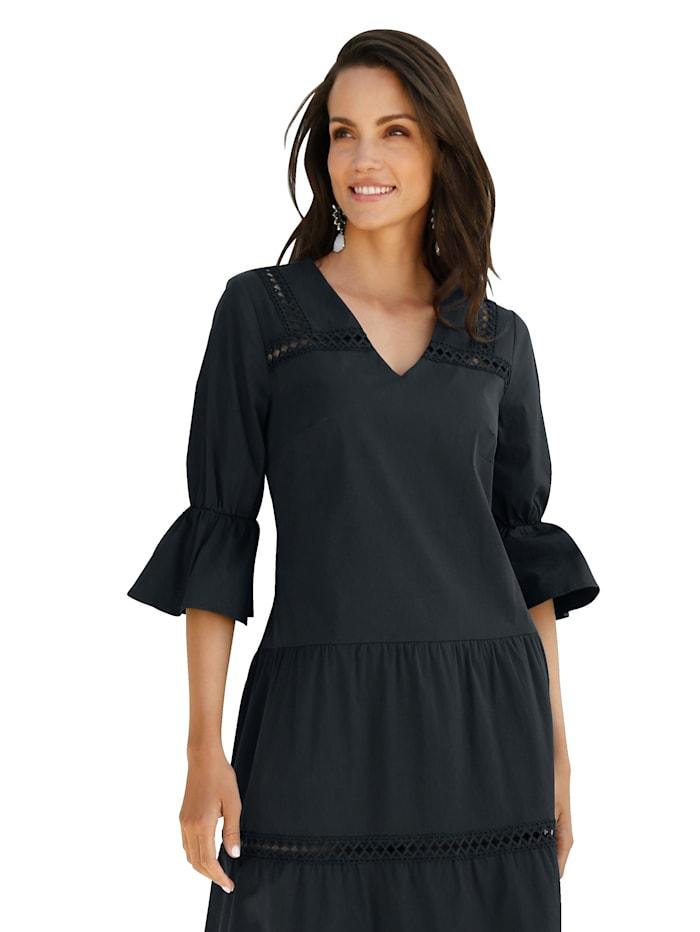 AMY VERMONT Kleid mit Spitzendetails, Marineblau