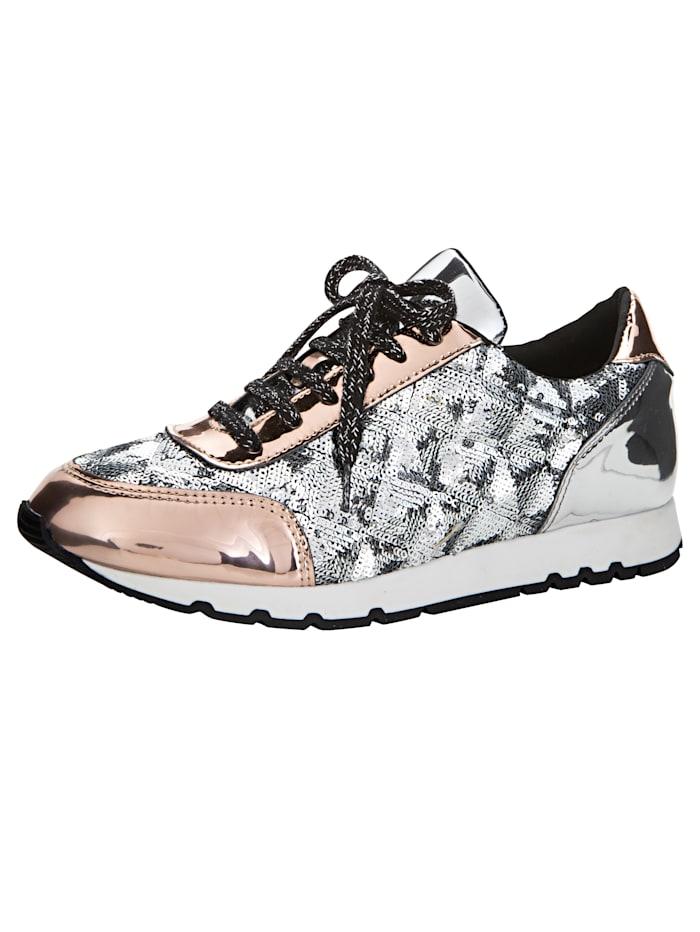 Sneaker mit angebrachter Pailletten-Verzierung, Rosé