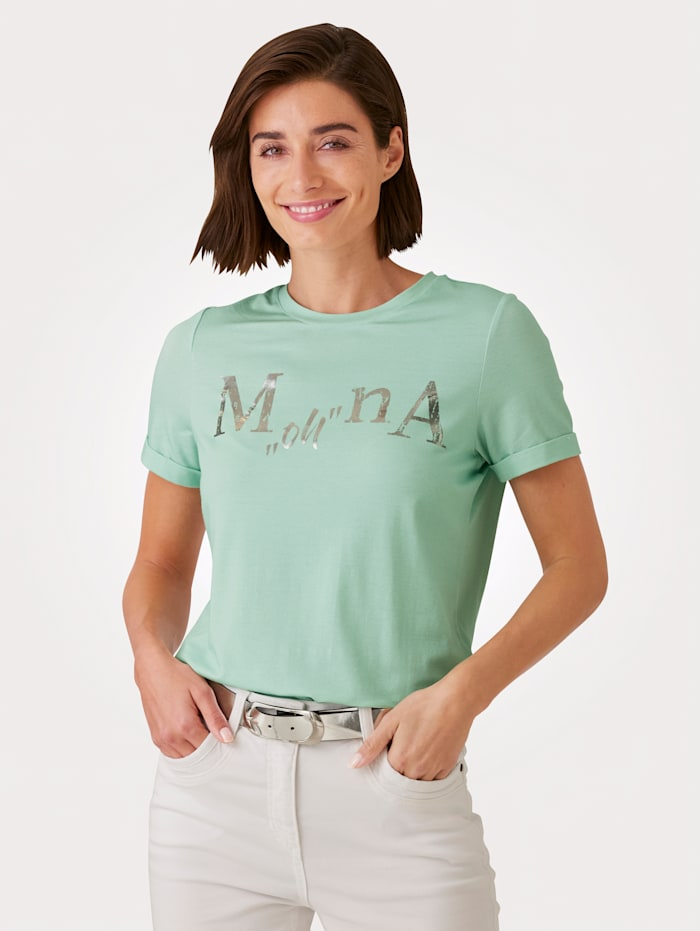MONA Shirt mit exklusivem Schriftzug, Mintgrün