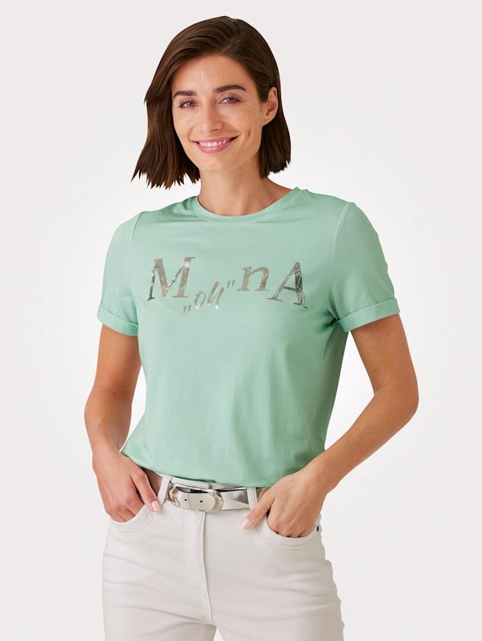 MONA T-shirt à inscription exclusive, Menthe