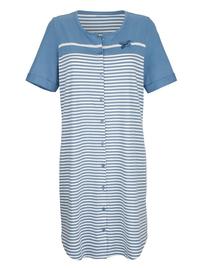 Blue Moon Nachthemd mit modernen Ärmelaufschlägen, jeansblau/ecru