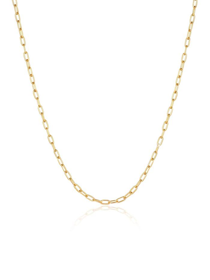 Kuzzoi Halskette Herren Gliederkette Oval Basic Fein 925 Silber, Gold