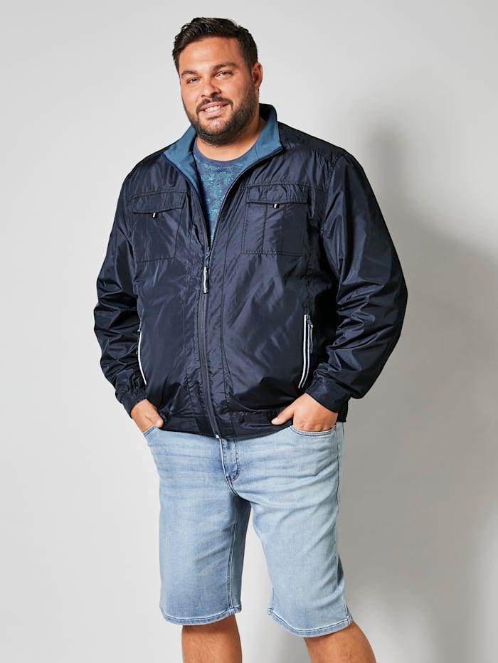 Men Plus Keerbare jas met opstaande kraag, Marine/Lichtblauw