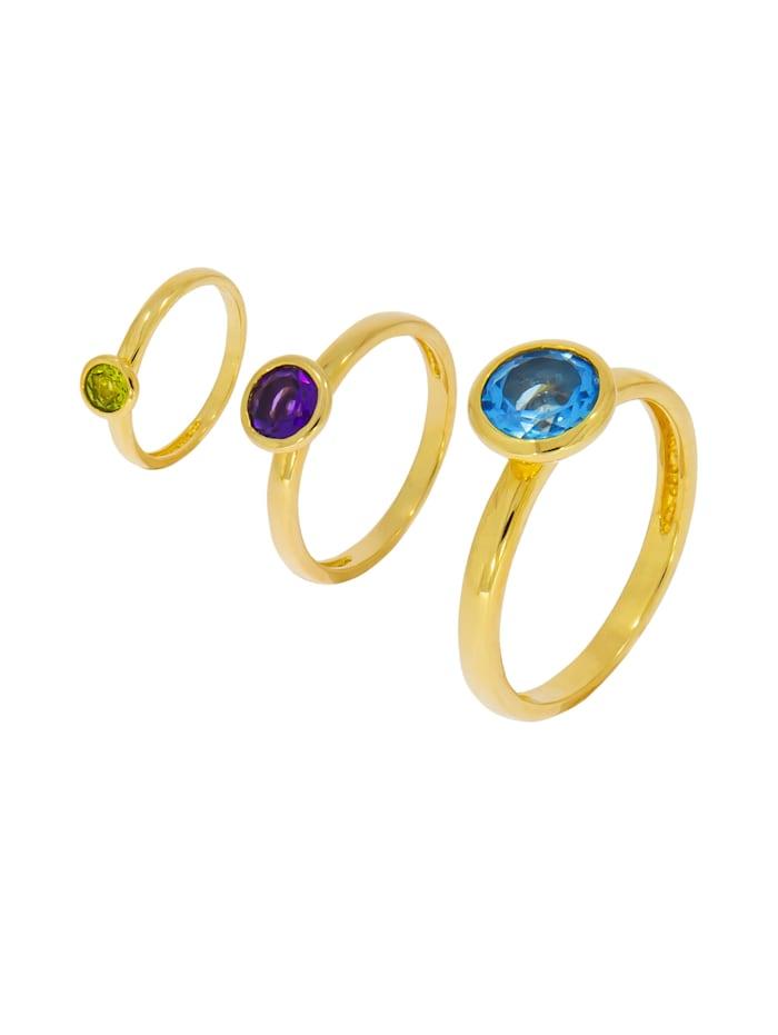 Ring-Set 925/- Sterling Silber Blautopas beh. blau Glänzend 1,50 ct.