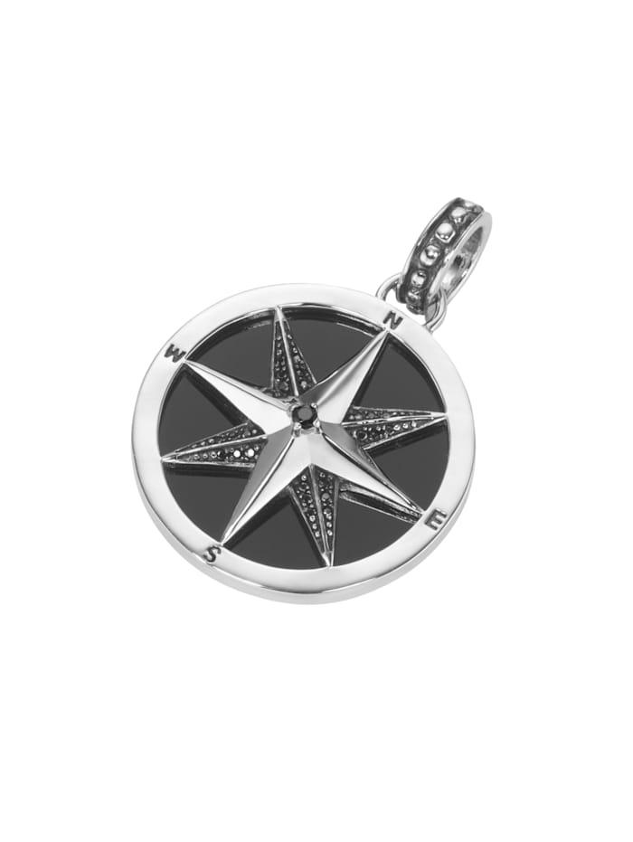 Giorgio Martello Anhänger Kompass, mit Achat und Spinellen in schwarz, Silber 925, Schwarz