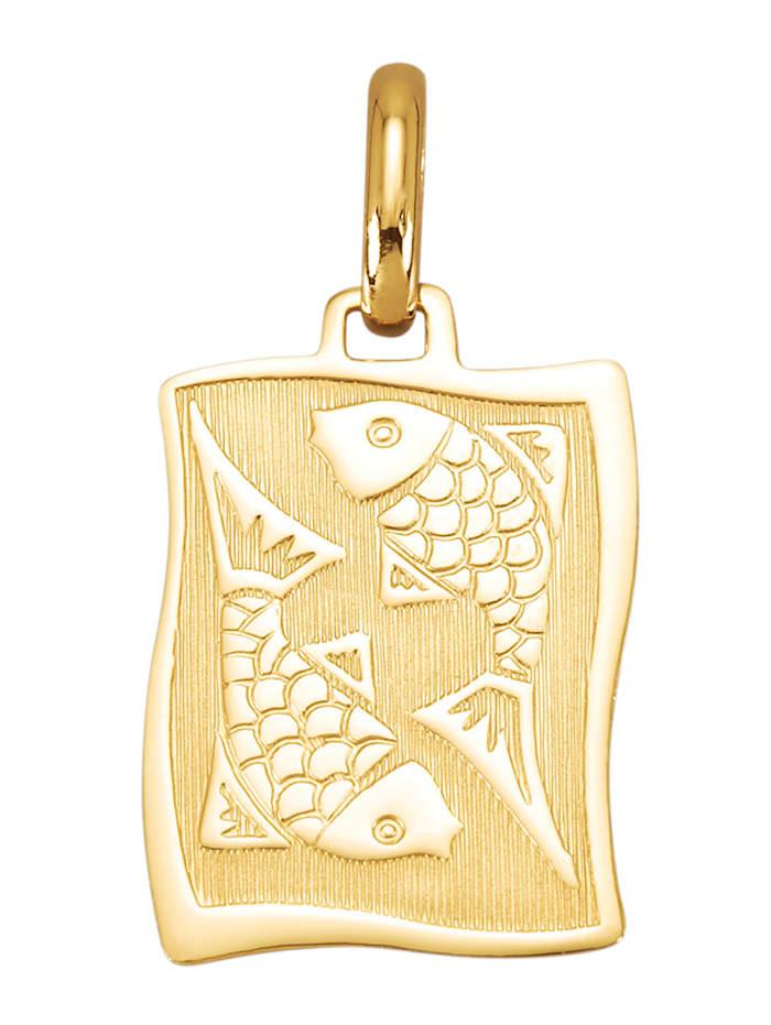Amara Or Pendentif avec signe du zodiaque Poissons en or jaune 585, Coloris or jaune