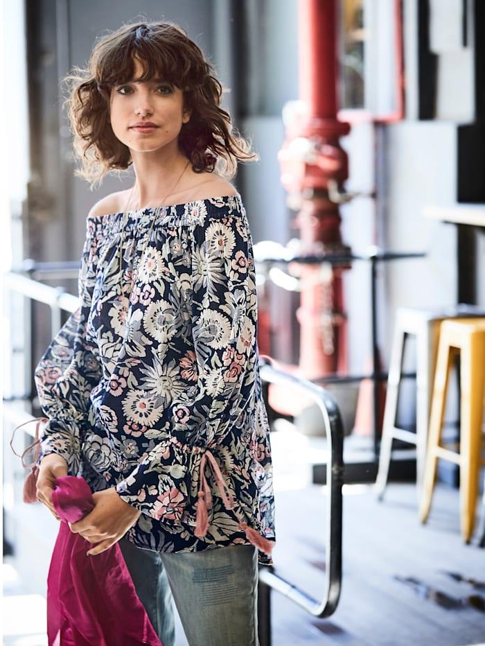 Bluse Carmenausschnitt mit floralem Druck