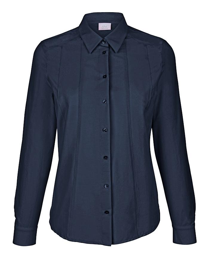 Alba Moda Hemdbluse in schöner Stretch-Qualität mit feinem Glanz, Blau