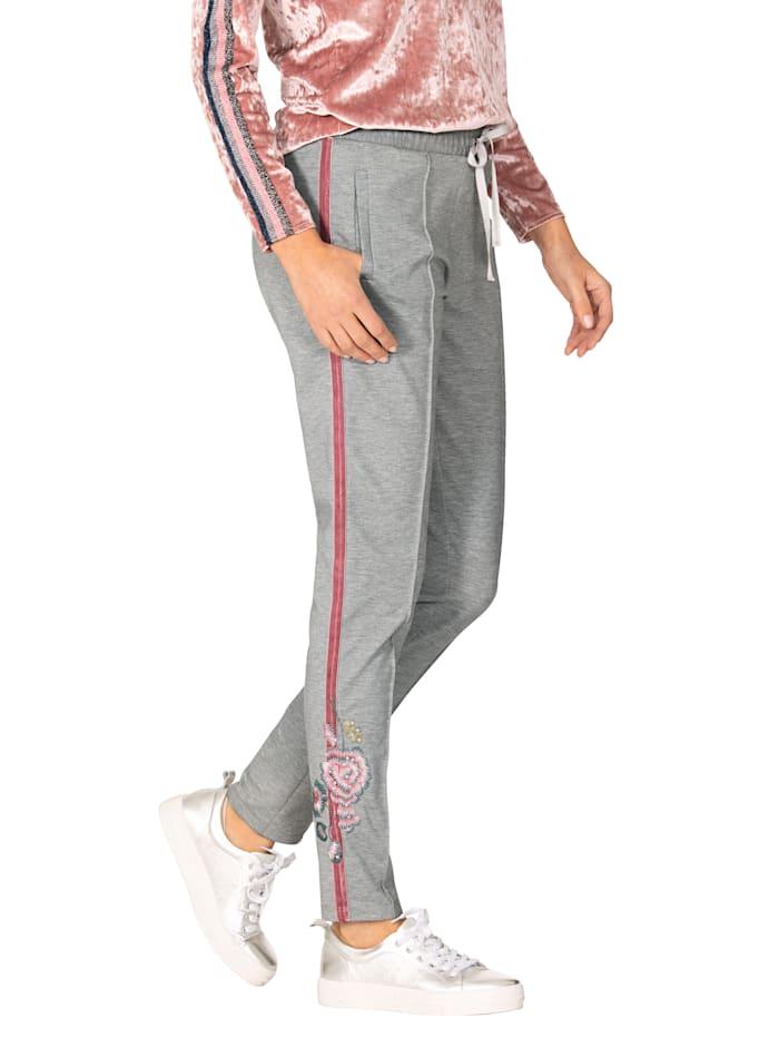 AMY VERMONT Jerseyhose mit Stickerei und Strasssteindekoration, Grau