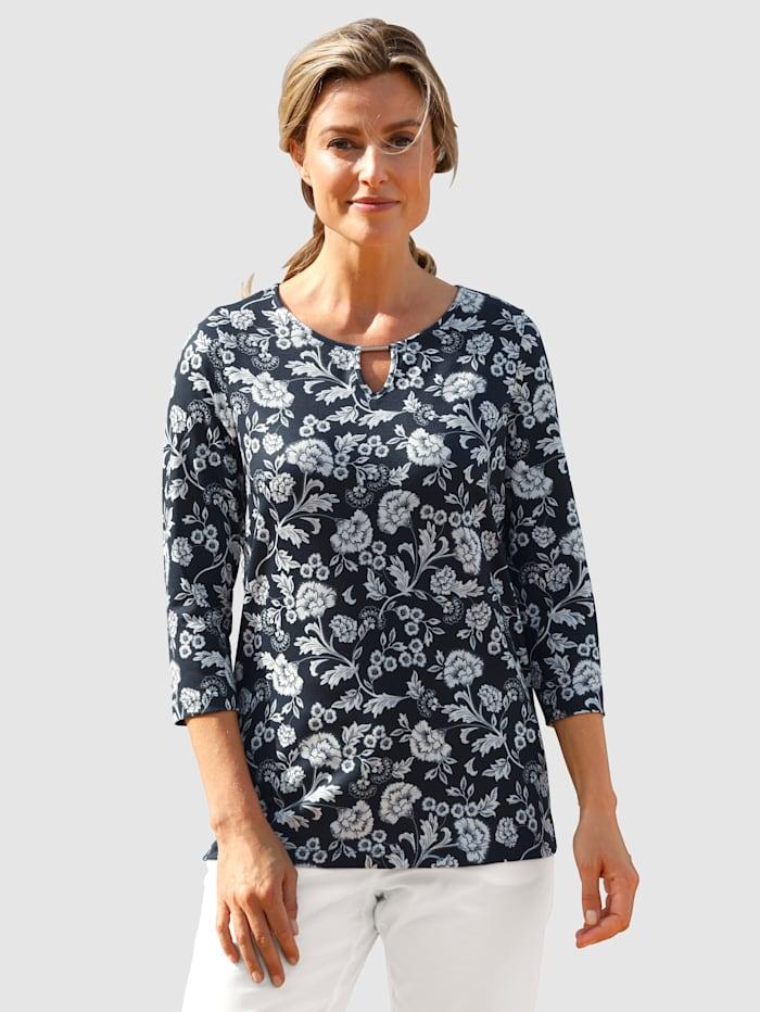basically you Shirt mit schönem Druck rundum, Marineblau/Weiß