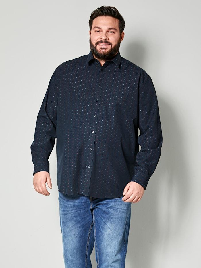 Men Plus Hemd aus reiner Baumwolle, Marineblau/Rubinrot
